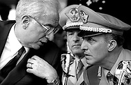 Roma   Festa della Polizia   1986.Francesco Cossiga Presidente della Repubblica Italiana.con  il Generale  Roberto Jucci