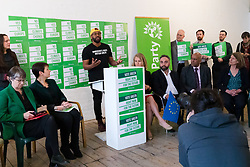 © Licensed to London News Pictures. 08/05/2019. London, UK.  MEP Green Party candidate for Yorkshire and Humber, Magid Magid speaking at the Green Party European election campaign launch, held at the Candid Arts Trust.  Photo credit: Vickie Flores/LNP