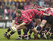 © Peter Spurrier/ Intersport Images.Photo Peter Spurrier.01/03/2003 Sport - Semi final Powergen Cup Rugby -.Leicester  v Gloucester - Franklin Gardens.Andy Gomerall releases the ball from the ball of ht scrum.
