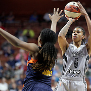 UNCASVILLE, CONNECTICUT- MAY 05:  Alex Montgomery #6 of the San Antonio Stars in action during the San Antonio Stars Vs Connecticut Sun preseason WNBA game at Mohegan Sun Arena on May 05, 2016 in Uncasville, Connecticut. (Photo by Tim Clayton/Corbis via Getty Images)