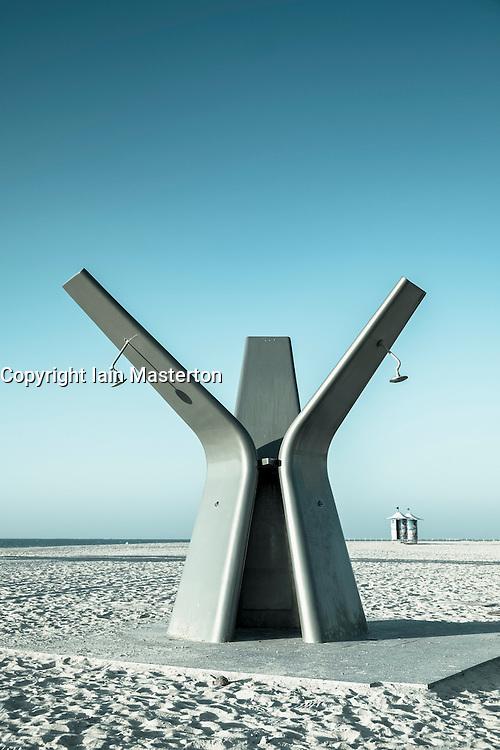 Modern public shower on beach in Dubai United Arab Emirates