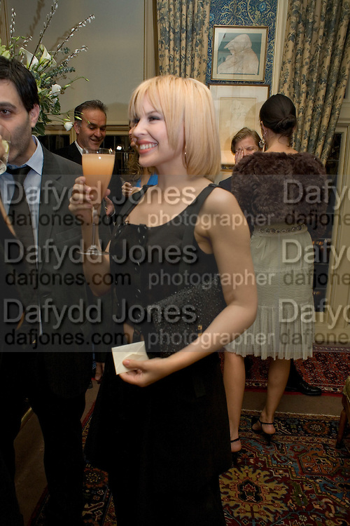 KYLIE MINOGUE, Pre Bafta dinner hosted by Charles Finch and Chanel. Mark's Club. Charles St. London. 9 February 2008.  *** Local Caption *** -DO NOT ARCHIVE-© Copyright Photograph by Dafydd Jones. 248 Clapham Rd. London SW9 0PZ. Tel 0207 820 0771. www.dafjones.com.