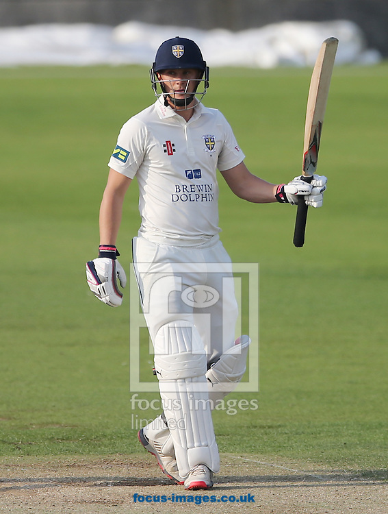 Scott Borthwick of Durham celebrates hitting a half century during the LV County Championship Div One match at Emirates Durham ICG, Chester-le-Street<br /> Picture by Simon Moore/Focus Images Ltd 07807 671782<br /> 23/08/2015