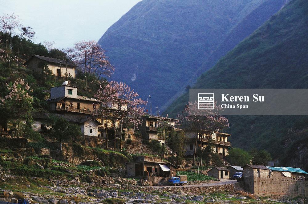 A small village along the Three Gorges, Yangtze River, China