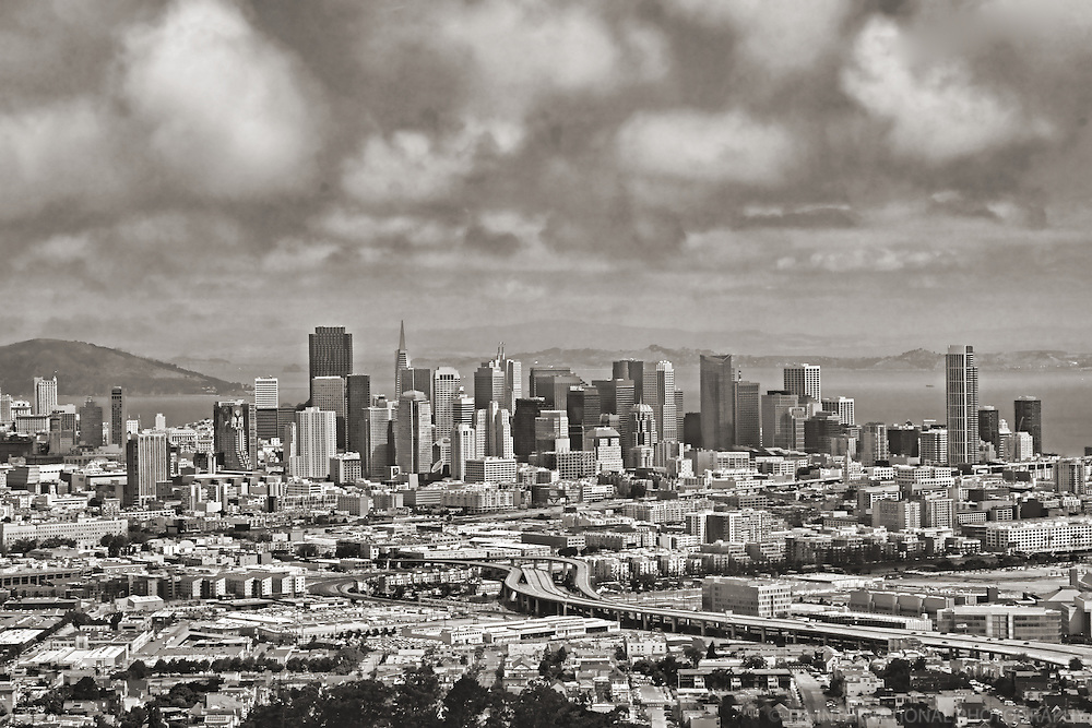 San Francisco Skyline from Portrero Hill Neighborhood (B&W Aerial)