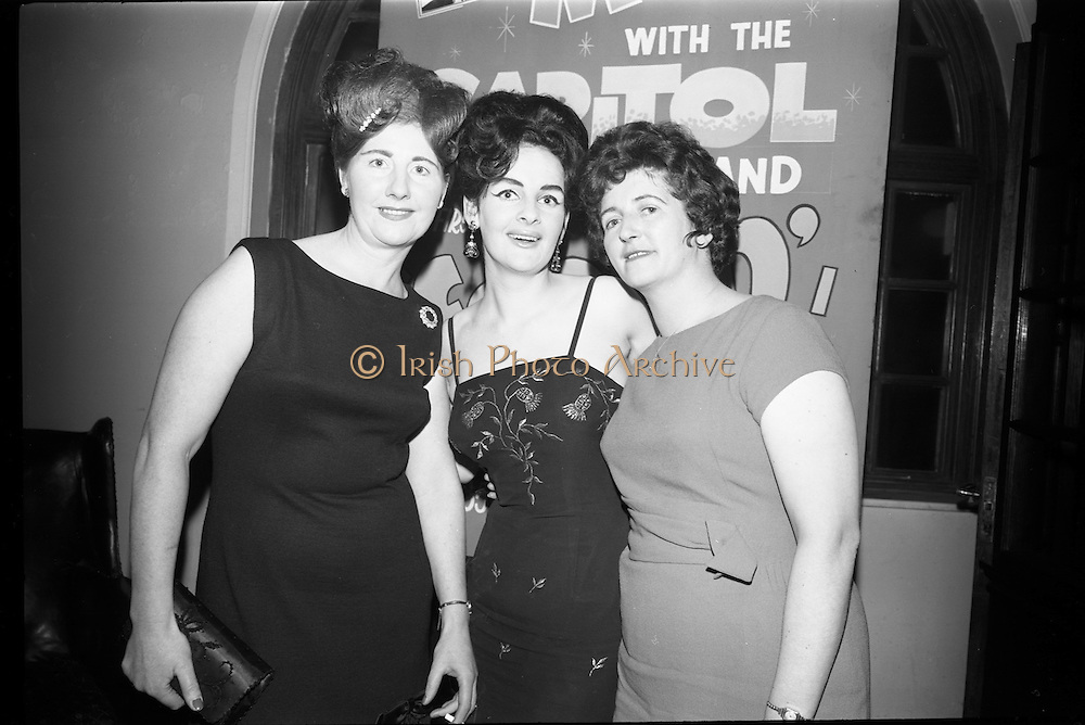 03/02/1964<br /> 02/03/1964<br /> 03 February 1964 <br /> Capitol Show Band and Pye Records reception for single 'Foolin' Time' at Country Club Portmarnock. Image shows (l-r): Mrs Jim Doherty; Mrs Don Long and Mrs Billy Duffy.