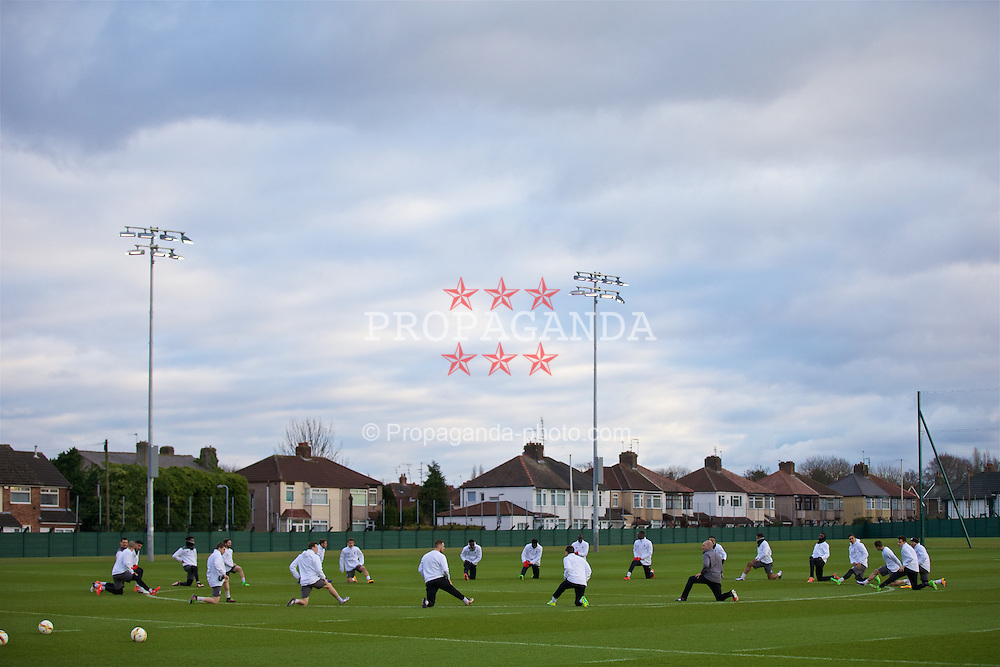 LIVERPOOL, ENGLAND - Wednesday, March 9, 2016: Liverpool's xxxx during a training session at Melwood Training Ground ahead of the UEFA Europa League Round of 16 1st Leg match against Manchester United FC. (Pic by David Rawcliffe/Propaganda)