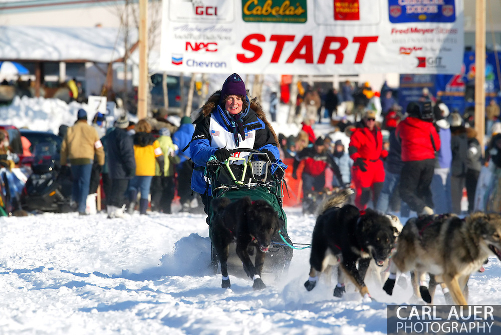 3/4/2007:  Willow, Alaska -  Veteran Cindy Gallea of Seeley Lake, MT heads out in the 35th Iditarod Sled Dog Race