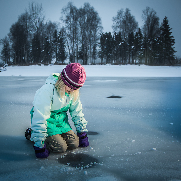 Sarah ponders the new ice at Cuddy Park in Anchorage's mid town