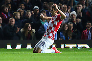 Anas Sharbini of Croatia celebrates scoring the opening goal against Argentina during the International Friendly match at the Boleyn Ground, London<br /> Picture by David Horn/Focus Images Ltd +44 7545 970036<br /> 12/11/2014