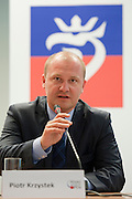 Piotr Krzystek - president of Szczecin during press conference before tennis tournament Pekao Szczecin Open 2013 in Pekao Bank in Warsaw..<br /> <br /> Poland, Warsaw, September 09, 2013<br /> <br /> Picture also available in RAW (NEF) or TIFF format on special request.<br /> <br /> For editorial use only. Any commercial or promotional use requires permission.<br /> <br /> Photo by &copy; Adam Nurkiewicz / Mediasport