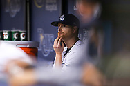 September 16, 2017 - St. Petersburg, Florida, U.S. - WILL VRAGOVIC   |   Times.Tampa Bay Rays starting pitcher Alex Cobb (53) in the dugout after the RBI double by Boston Red Sox third baseman Rafael Devers (11) in the sixth inning of the game between the Boston Red Sox and the Tampa Bay Rays at Tropicana Field in St. Petersburg, Fla. on Saturday, Sept. 16, 2017. (Credit Image: © Will Vragovic/Tampa Bay Times via ZUMA Wire)
