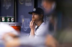 September 16, 2017 - St. Petersburg, Florida, U.S. - WILL VRAGOVIC       Times.Tampa Bay Rays starting pitcher Alex Cobb (53) in the dugout after the RBI double by Boston Red Sox third baseman Rafael Devers (11) in the sixth inning of the game between the Boston Red Sox and the Tampa Bay Rays at Tropicana Field in St. Petersburg, Fla. on Saturday, Sept. 16, 2017. (Credit Image: © Will Vragovic/Tampa Bay Times via ZUMA Wire)