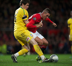 01.12.2011, Old Trafford, Manchester, ENG, PL, Viertelfinale, Manchester United FC vs Crystal Palace FC, im Bild Manchester United's Federico Macheda in action against Crystal Palace's Patrick McCarthy during the football match of Englisch Football League Cup, Quarter-Final, between Manchester United FC and Crystal Palace FC at Old Trafford, Manchester, ENG on 2011-12-01. EXPA Pictures © 2011, PhotoCredit: EXPA/ Sportida/ David Rawcliff..***** ATTENTION - OUT OF ENG, GBR, UK *****