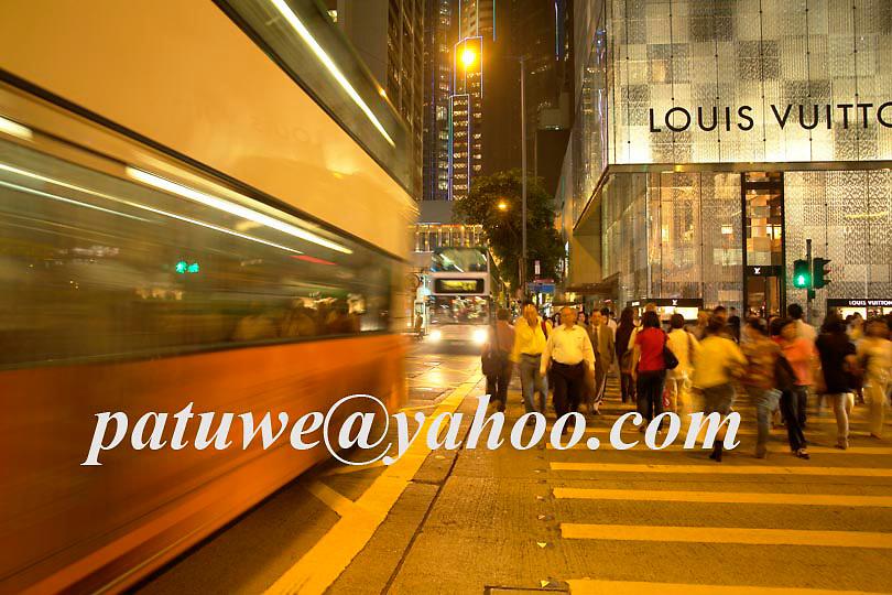 Hong Kong traffic intersection, central district at dusk, china,