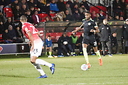 Macclesfield Town midfielder Emmanuel Osadebe in action during the EFL Sky Bet League 2 match between Salford City and Macclesfield Town at the Peninsula Stadium, Salford, United Kingdom on 23 November 2019.