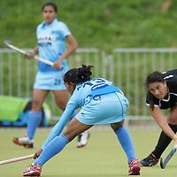 MONCHENGLADBACH - Junior World Cup<br /> Pool C: New Zealand - India<br /> photo: Anupa barla (blue) and Rhiannon Dennison (black).<br /> COPYRIGHT FRANK UIJLENBROEK FFU PRESS AGENCY