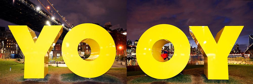 """""""YO"""" and """"OY"""" on Brooklyn Bridge Park's Main Street Lawn in Brooklyn."""