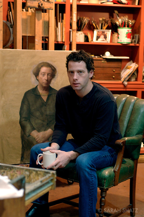 Jacob Collins, painter, in his studio