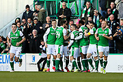 Martin Boyle (#17) of Hibernian celebrates Hibernian's first goal (1-0) with Hibernian teammates during the Ladbrokes Scottish Premiership match between Hibernian and Aberdeen at Easter Road, Edinburgh, Scotland on 17 February 2018. Picture by Craig Doyle.