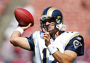 SAN FRANCISCO - SEPTEMBER 17:  Backup quarterback Gus Frerotte #12 of the St. Louis Rams unloads a pass during pregame warmups against the San Francisco 49ers at Monster Park on September 17, 2006 in San Francisco, California. The Niners defeated the Rams 20-13. ©Paul Anthony Spinelli *** Local Caption *** Gus Frerotte