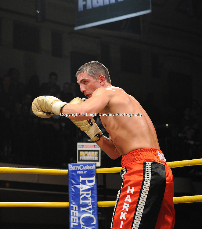 Nick Quigley defeats Stephen Harkin (pictured) in Quarter Final Four of Prizefighter  - The Light Middleweights II. York Hall, Bethnal Green, London, UK. 15th September 2011. Photo credit: © Leigh Dawney.