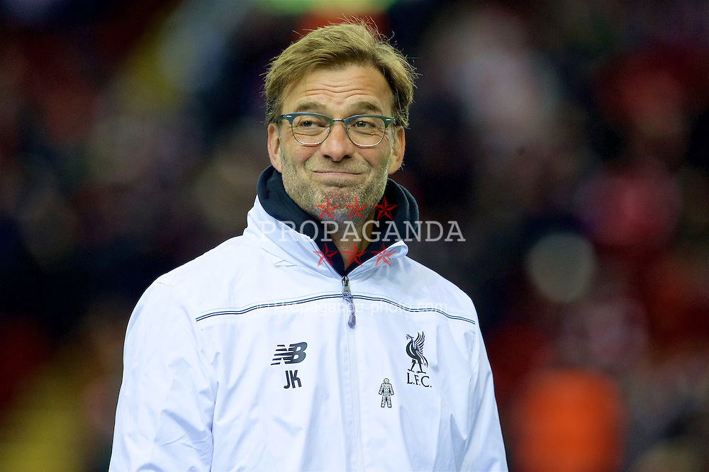 LIVERPOOL, ENGLAND - Thursday, March 10, 2016: Liverpool's manager Jürgen Klopp before the UEFA Europa League Round of 16 1st Leg match against Manchester United at Anfield. (Pic by David Rawcliffe/Propaganda)