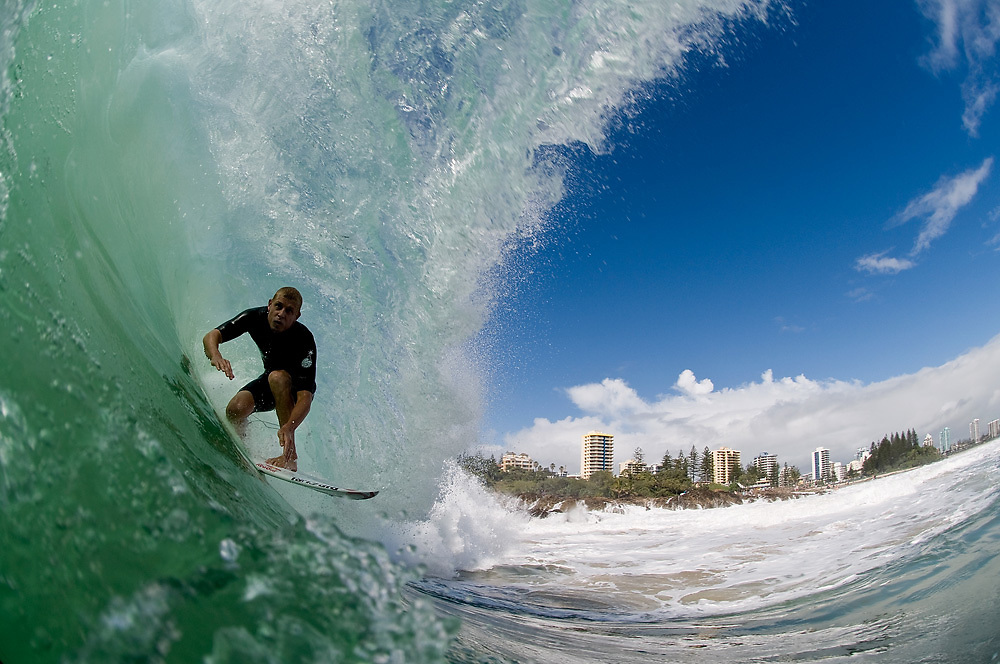29 April 2011: Mick Fanning in the barrel at Snapper Rocks on the Gold Coast. Photo by Matt Roberts