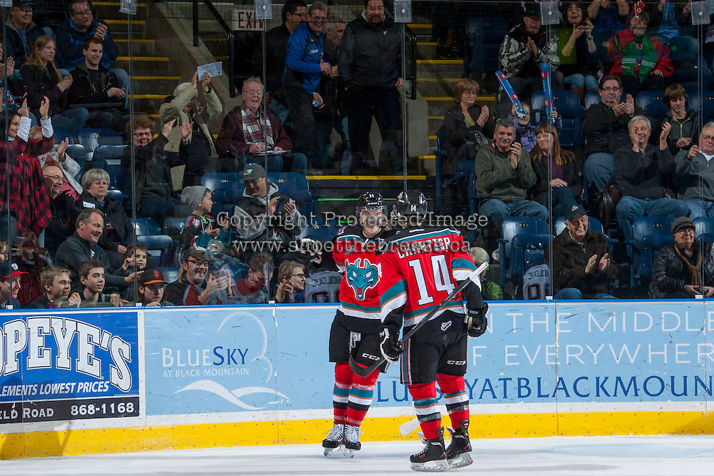 KELOWNA, CANADA - NOVEMBER 30: Carter Rigby #11 and Rourke Chartier #14 of the Kelowna Rockets celebrate a goal against the Kamloops Blazers on November 30, 2013 at Prospera Place in Kelowna, British Columbia, Canada.   (Photo by Marissa Baecker/Shoot the Breeze)  ***  Local Caption  ***