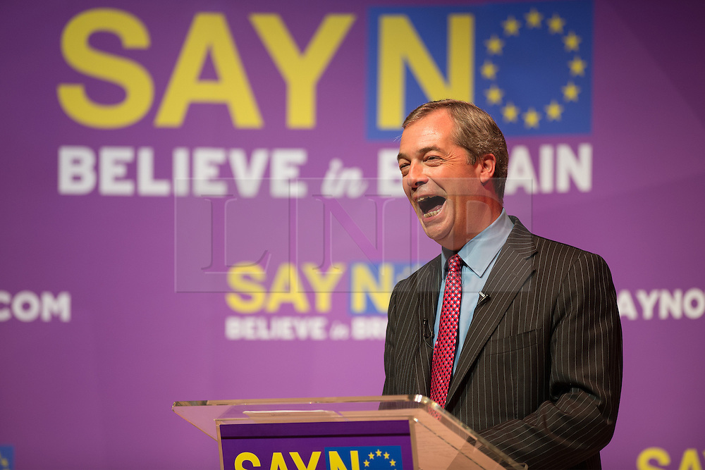 © Licensed to London News Pictures. 16/11/2015. <br /> <br /> Pictured: Nigel Farage gives a speech within the Anvil conference centre, Basingstoke, Hampshire on 16/11/2015.<br /> <br />  Photo credit should read Max Bryan/LNP