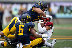 BERKELEY, CA - SEPTEMBER 12:  Linebacker Jalen Jefferson #7 of the California Golden Bears tackles wide receiver Mikah Holder #85 of the San Diego State Aztecs during the first quarter at California Memorial Stadium on September 12, 2015 in Berkeley, California. The California Golden Bears defeated the San Diego State Aztecs 35-7. (Photo by Jason O. Watson/Getty Images) *** Local Caption *** Jalen Jefferson; Mikah Holder