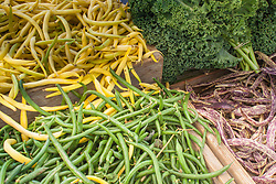 North America, United States, Washington, Kirkland, organic vegetables (beans and kale) at Farmers Market