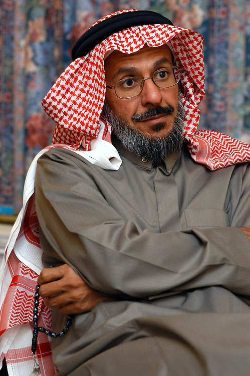 Saad al-Fagih, a Saudi Arabian dissident, and founder of the 'Movement for Islamic Reform in Arabia', at his home in London, UK. Recent 'pro-democracy' demonstrations in Saudi Arabia were co-ordinated from his recording studio in a secret location in London..