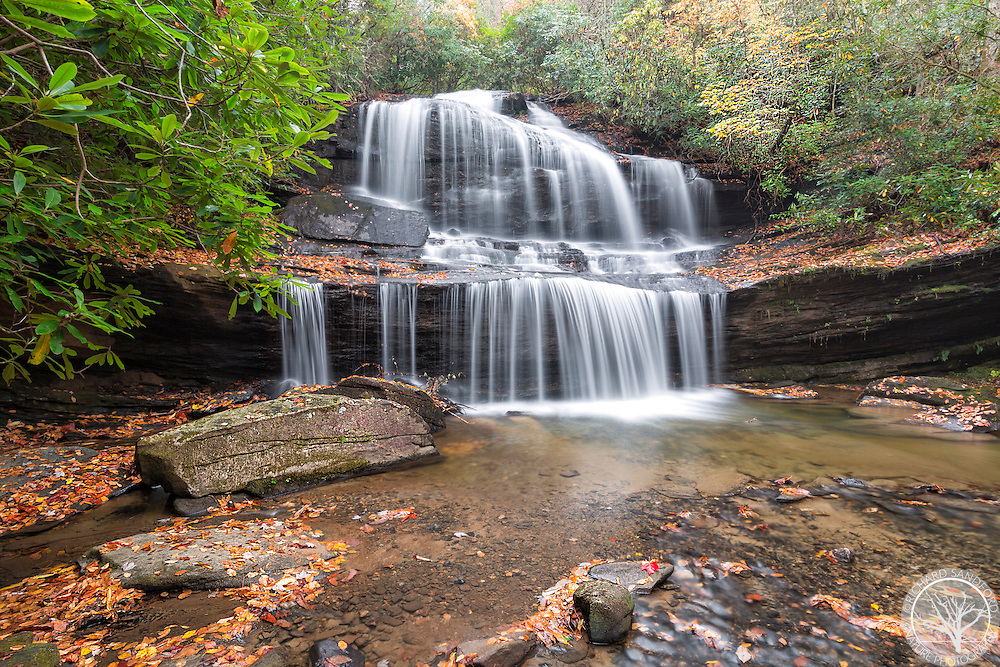 Woods Cove Falls with fall colors, near Brevard, North Carolina. On private property.