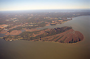 Aerial view: Jamestown Island on the James River, October 2000. James River is in the foreground and the York River can be seen in the distance. Part of the Chesapeake Bay watershed.
