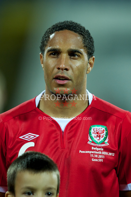 SOFIA, BULGARIA - Tuesday, October 11, 2011: Wales' Ashley Williams before the UEFA Euro 2012 Qualifying Group G match against Bulgaria at the Vasil Levski National Stadium. (Pic by David Rawcliffe/Propaganda)
