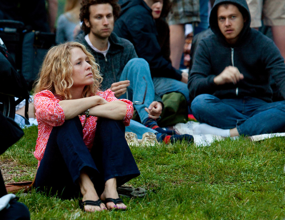 Audience member in Prospect Park, at a David Bryne Concert. He was formerly of the Talking Heads rock group.