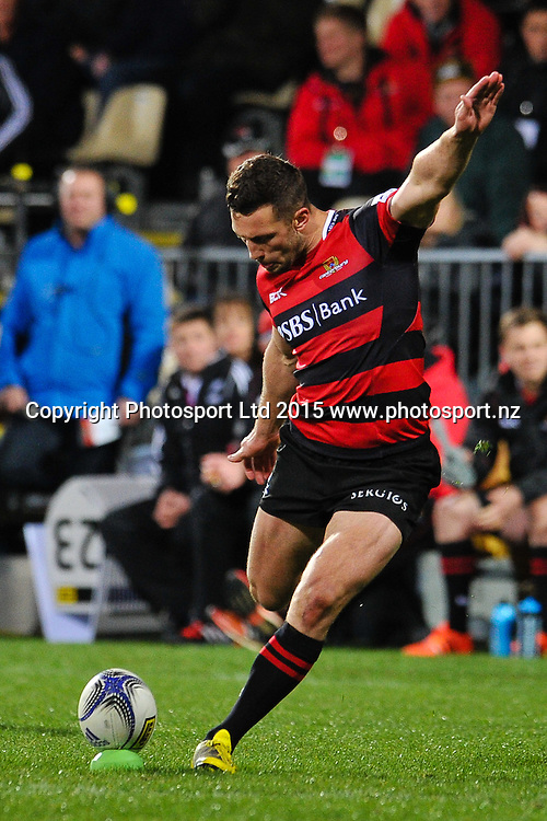 Tom Taylor of Canterbury kicks a conversion during the ITM Cup rugby match, Canterbury v Hawke's Bay, at AMI Stadium, Christchurch, on the 12th September 2015. Copyright Photo: John Davidson / www.photosport.nz