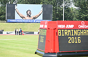 Memorial tribute to boxer Muhammad Ali during IAAF Birmingham Diamond League meeting at Alexander Stadium on Sunday, June 5, 2016, in Birmingham, United Kingdom. Photo by Jiro Mochizuki