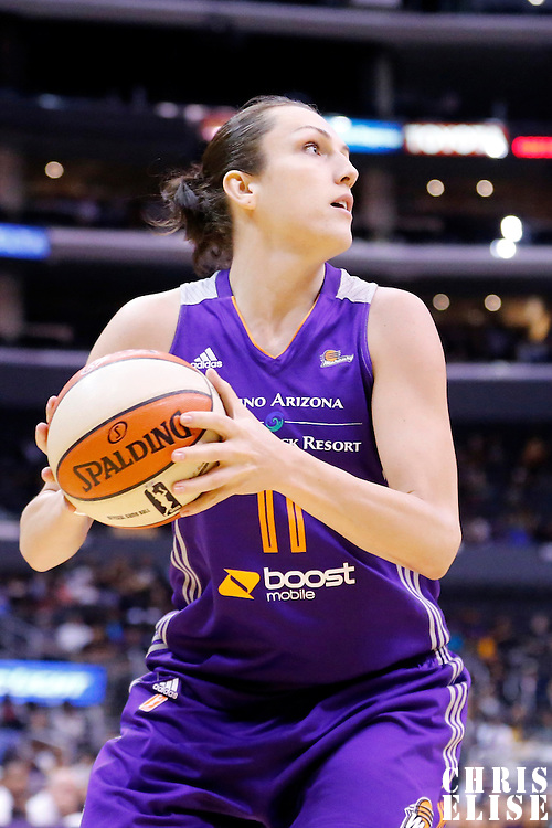 18 May 2014: Phoenix Mercury center Ewelina Kobryn (11) eyes the basket during the Phoenix Mercury 74-69 victory over the Los Angeles Sparks, at the Staples Center, Los Angeles, California, USA.