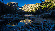 Hallett Peak Reflecting in Dream Lake in Rocky Mountain National Park.<br />
