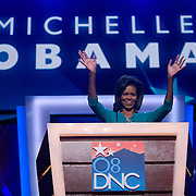 Michelle Obama speaks at the Democratic National Committee (DNC) Convention on the first day at the Pepsi Center in Denver, Colorado (CO) Monday, Aug. 25, 2008.  ..Photo by Khue Bui
