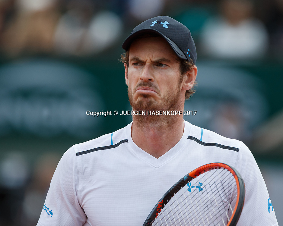 ANDY MURRAY (GBR) zieht eine Grimasse, Aerger,Frust,Emotion,<br /> <br /> Tennis - French Open 2017 - Grand Slam / ATP / WTA / ITF -  Roland Garros - Paris -  - France  - 9 June 2017.