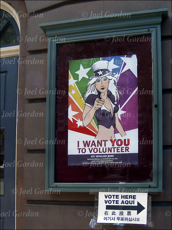 Voting in the Gay and Lesbian Center, poster of Lesbian take off of the World War I &quot;Army recruitment poster of Uncle Sam&quot; &quot;I Want You For the US Army&quot;.<br />