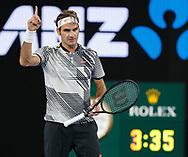ROGER FEDERER (SUI),Challenge beim Matchball ,Herren Finale<br /> <br /> Australian Open 2017 -  Melbourne  Park - Melbourne - Victoria - Australia  - 29/01/2017.