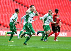 North Ferriby captain Liam King celebrates his goal - Photo mandatory by-line: Paul Knight/JMP - Mobile: 07966 386802 - 29/03/2015 - SPORT - Football - London - Wembley Stadium - North Ferriby United v Wrexham - FA Trophy