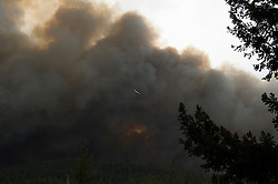 September 12, 2015 - Lake County, California. Cal Fire aircraft attacking fire as the Valley Fire races through the Boggs Mountain State forest, viewed from Loch Lomond. (Kim Ringeisen / Polaris)