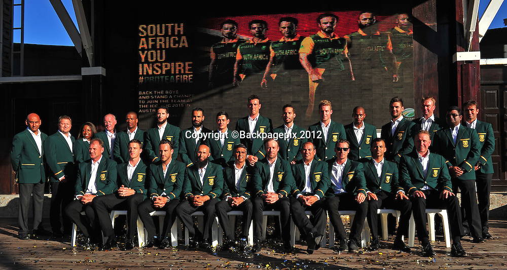 The Proteas squad and management team during the 2015 Cricket World Cup Protea squad announcement  at the V&A Waterfront, Cape Town on 7 January 2015 ©Ryan Wilkisky/BackpagePix