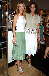 Left to right, KATE REARDON and HENRIETTA, COUNTESS OF CALEDON at a party to launch the Acqualuna jewellery exhibition at Allegra Hicks, 28 Cadogan Place, London on 22nd June 2005.<br />