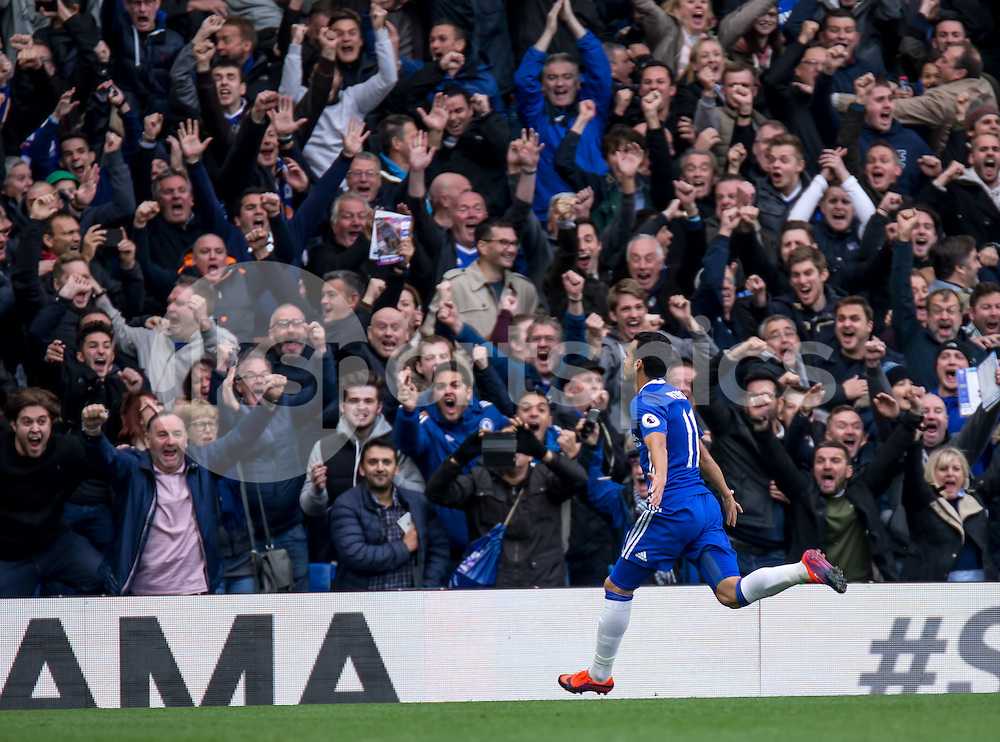 Pedro of Chelsea celebrates his goal with the fans during the Premier League match between Chelsea and Manchester United at Stamford Bridge, London, England on the 23rd October 2016. Photo by Liam McAvoy.